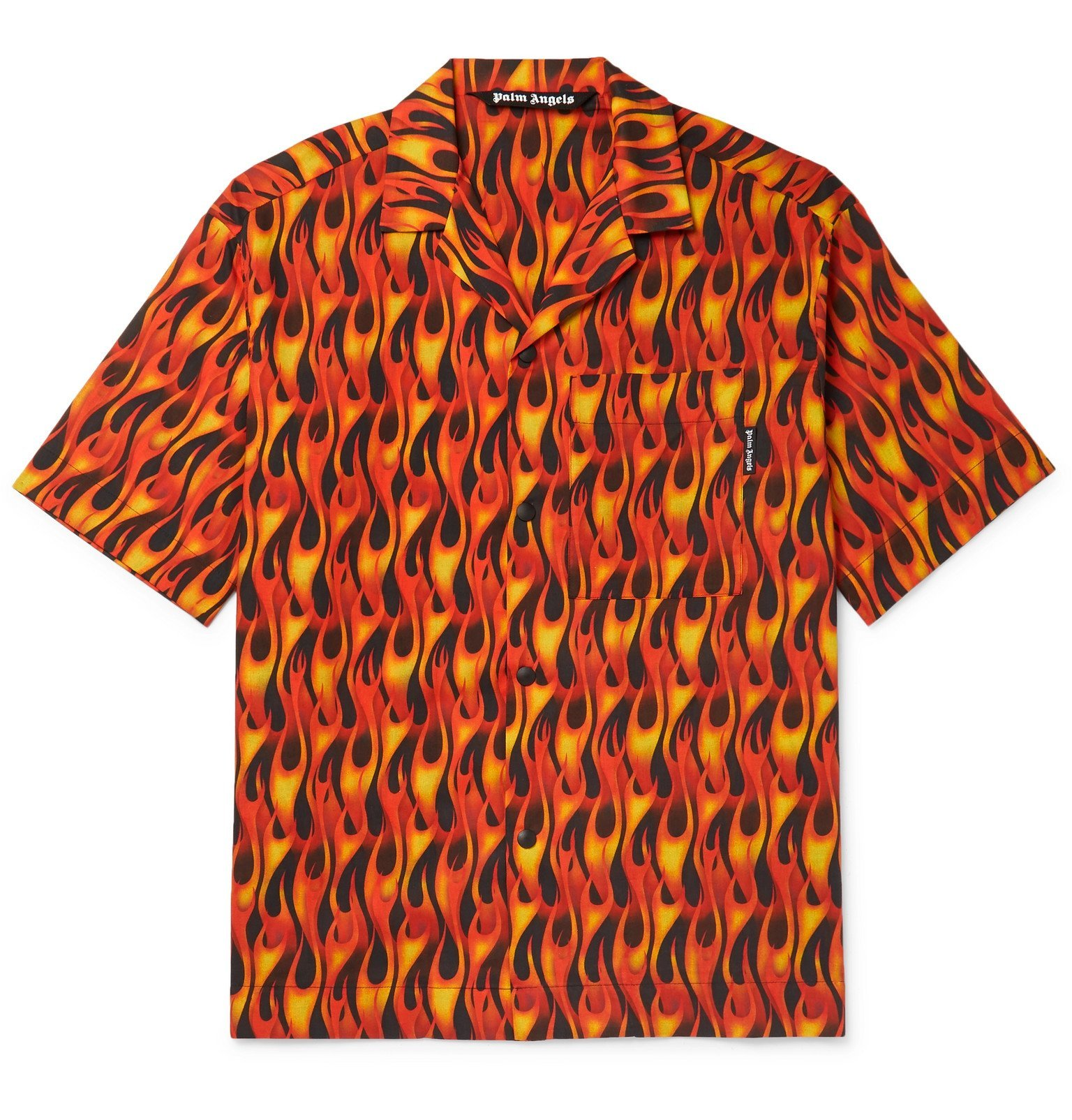 Photo: Palm Angels - Camp-Collar Printed Cotton Shirt - Red