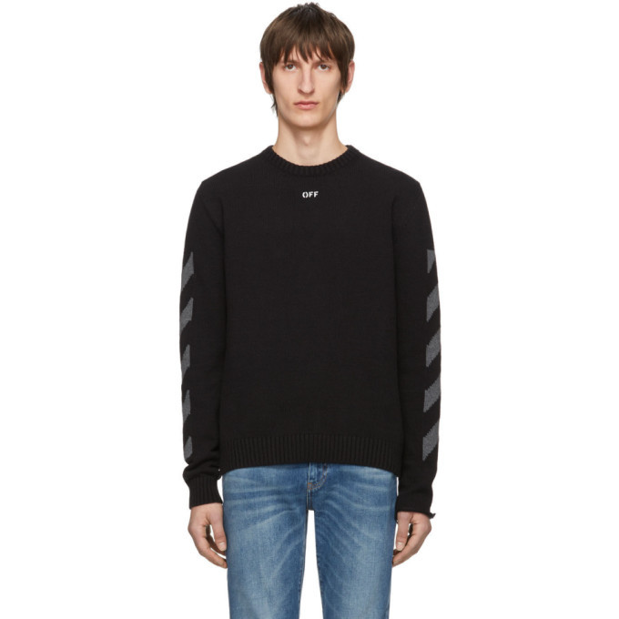 Photo: Off-White Black Melange Diag Sweater