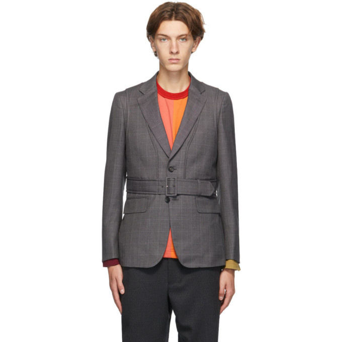 Photo: Comme des Garcons Homme Deux Grey Wool Check Belted Blazer