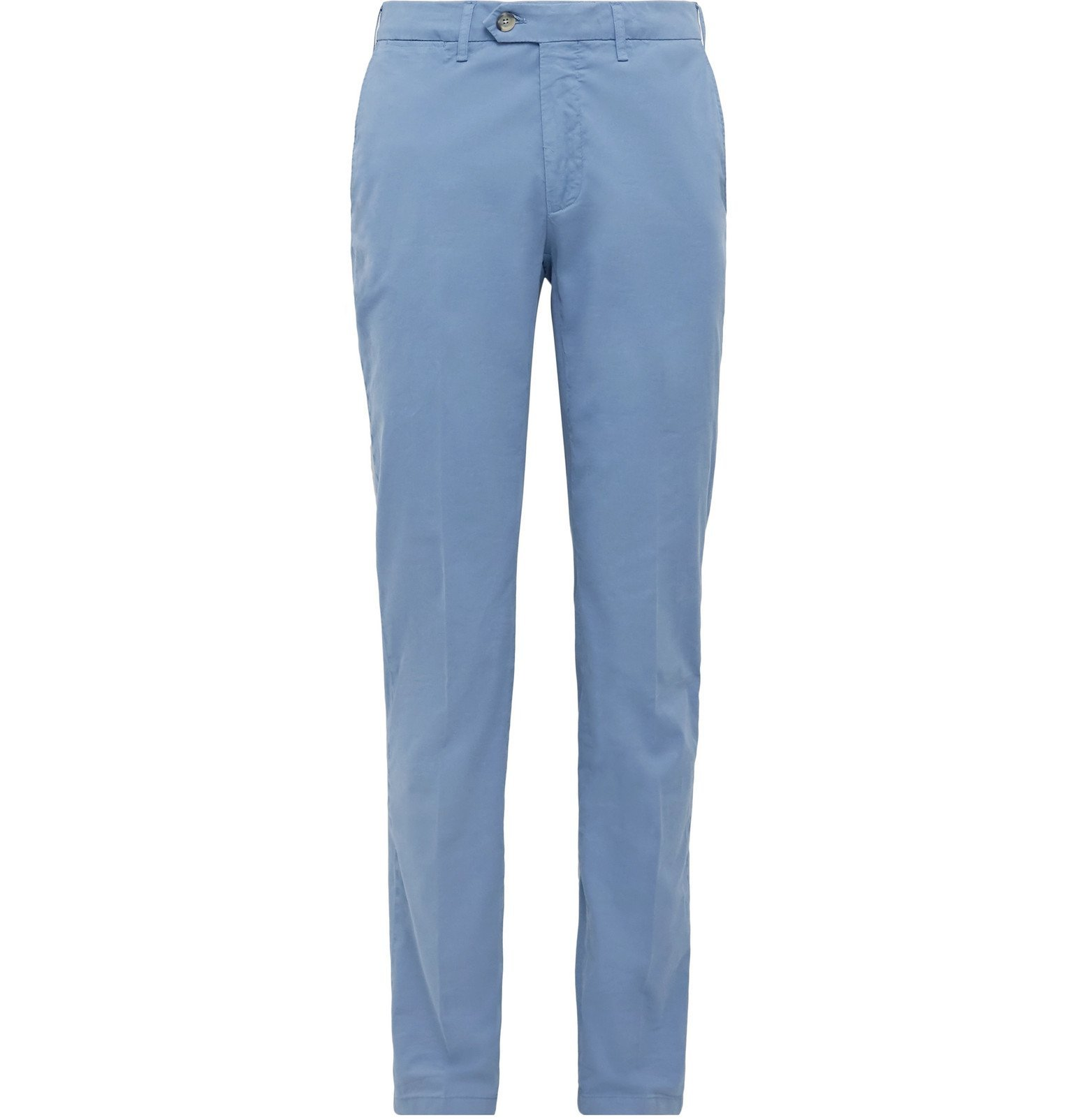 Photo: Canali - Slim-Fit Stretch-Cotton Twill Chinos - Blue