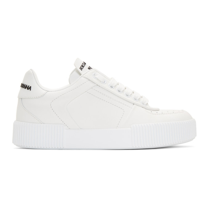 Photo: Dolce and Gabbana White Leather Low-Top Sneakers