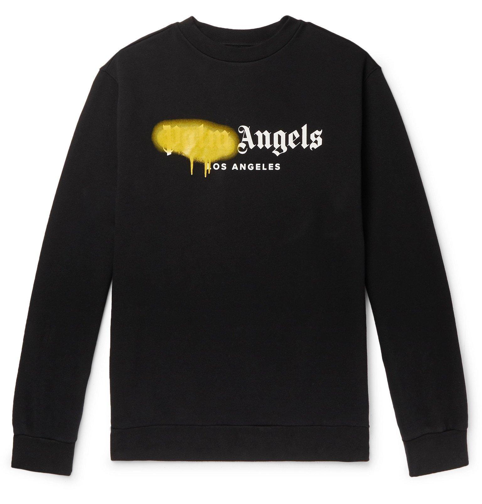 Photo: Palm Angels - Logo-Print Loopback Cotton-Jersey Sweatshirt - Black