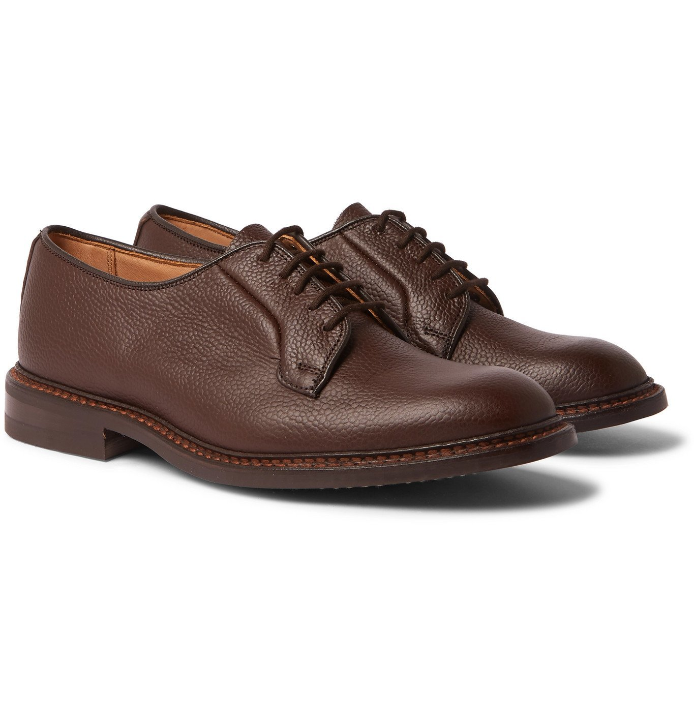 Photo: Tricker's - Robert Full-Grain Leather Derby Shoes - Brown
