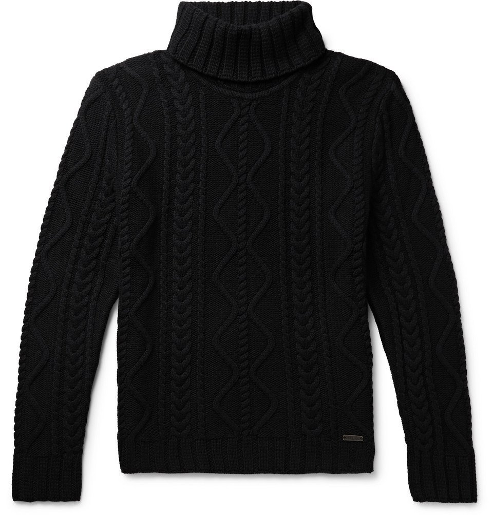 Belstaff - Slim-Fit Cable-Knit Rollneck Sweater - Black