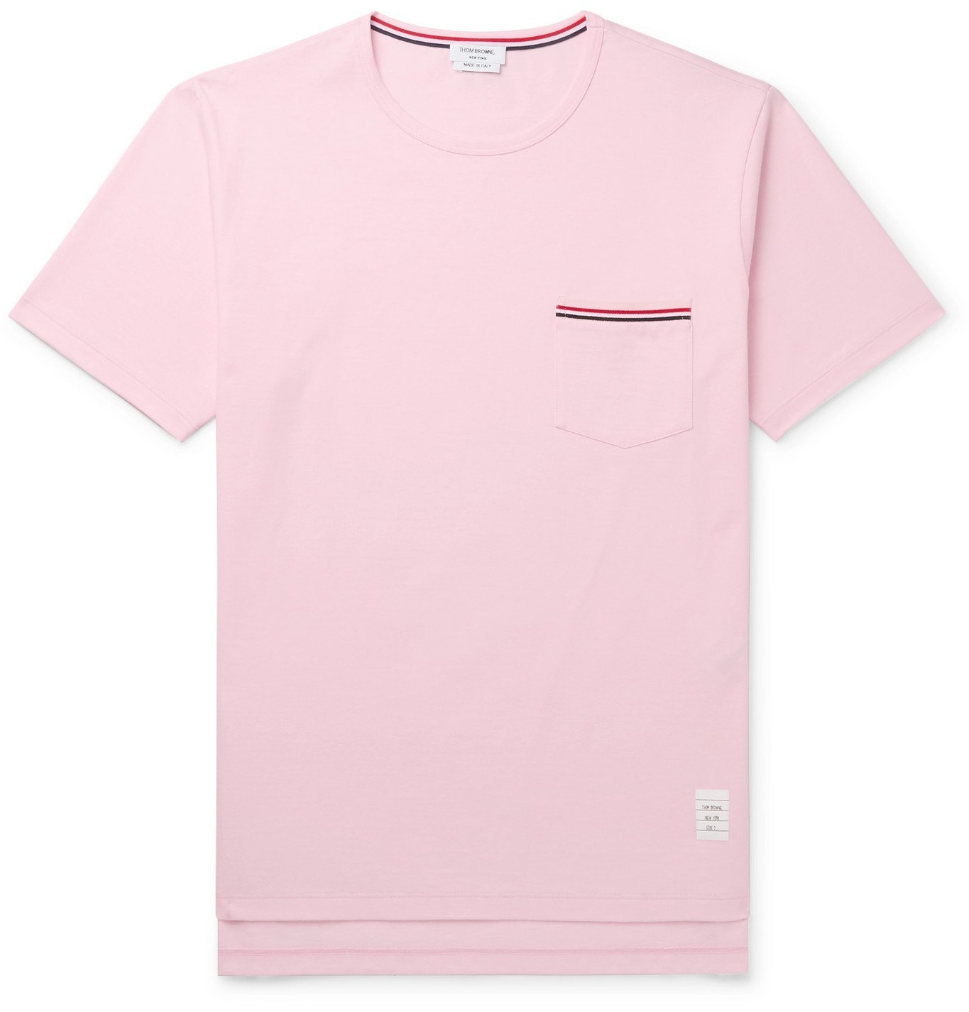 Photo: THOM BROWNE - Slim-Fit Grosgrain-Trimmed Cotton-Jersey T-Shirt - Pink