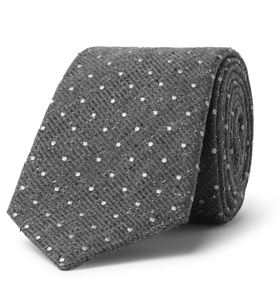 Photo: Canali - 8cm Polka-Dot Silk and Virgin Wool-Blend Tie - Gray