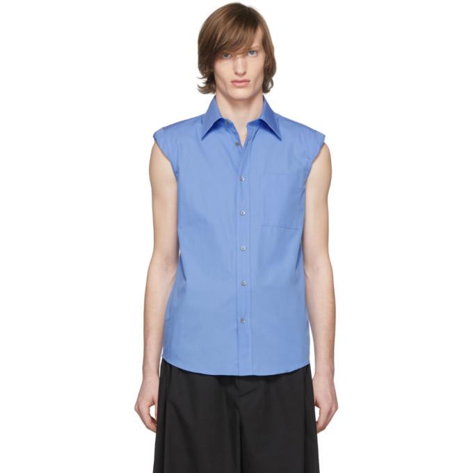 Photo: Dries Van Noten Blue Sleeveless Shoulder Pad Shirt