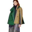 Sacai Green and Beige Melton Hooded Jacket