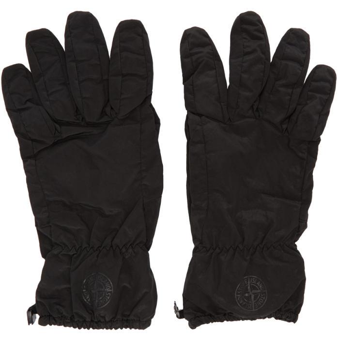 Photo: Stone Island Black Nylon Puffy Gloves