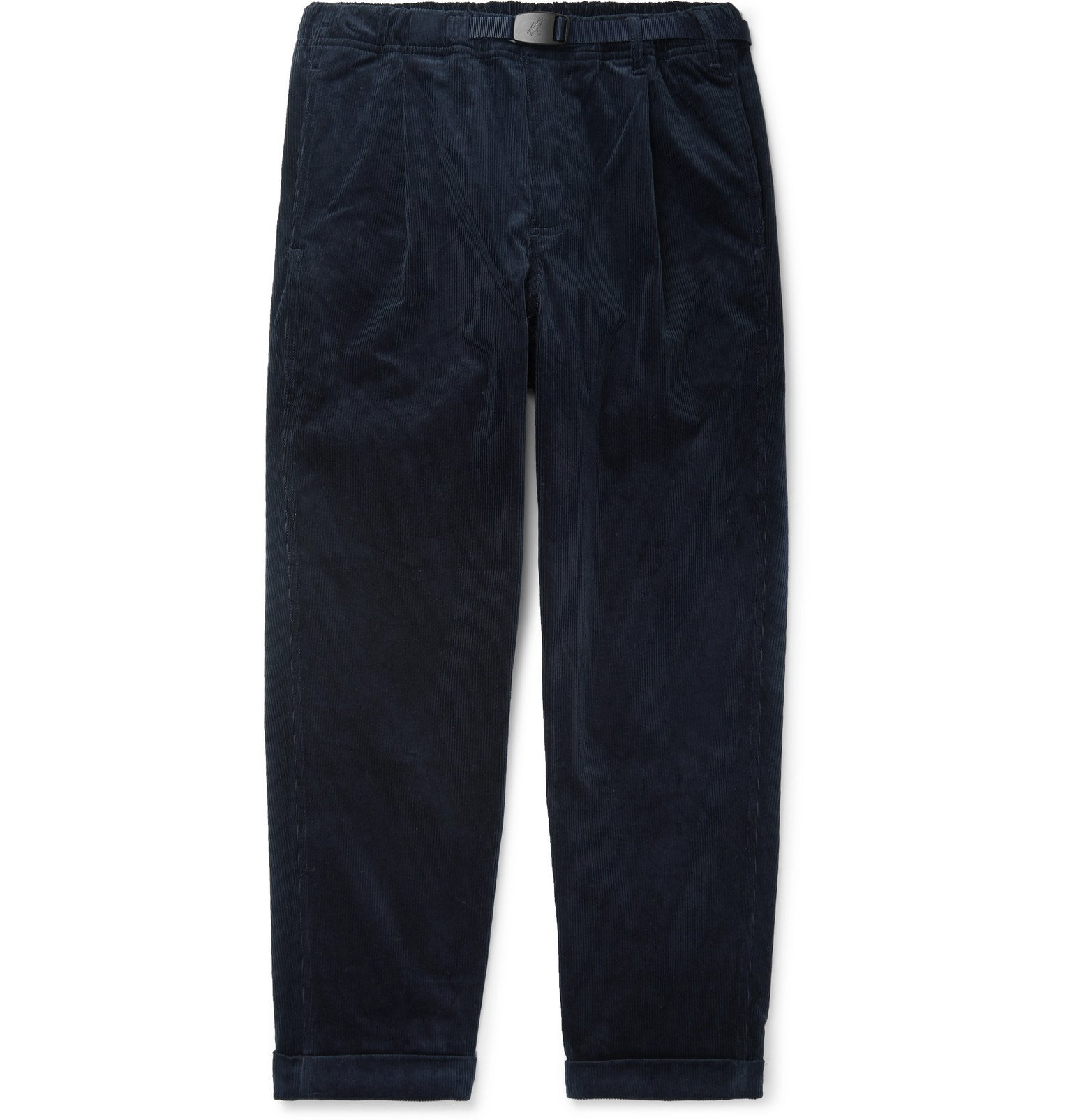 Photo: Gramicci - Black Belted Tapered Cotton-Corduroy Trousers - Blue