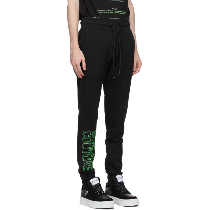 Versace Jeans Couture Black and Green Logo Lounge Pants