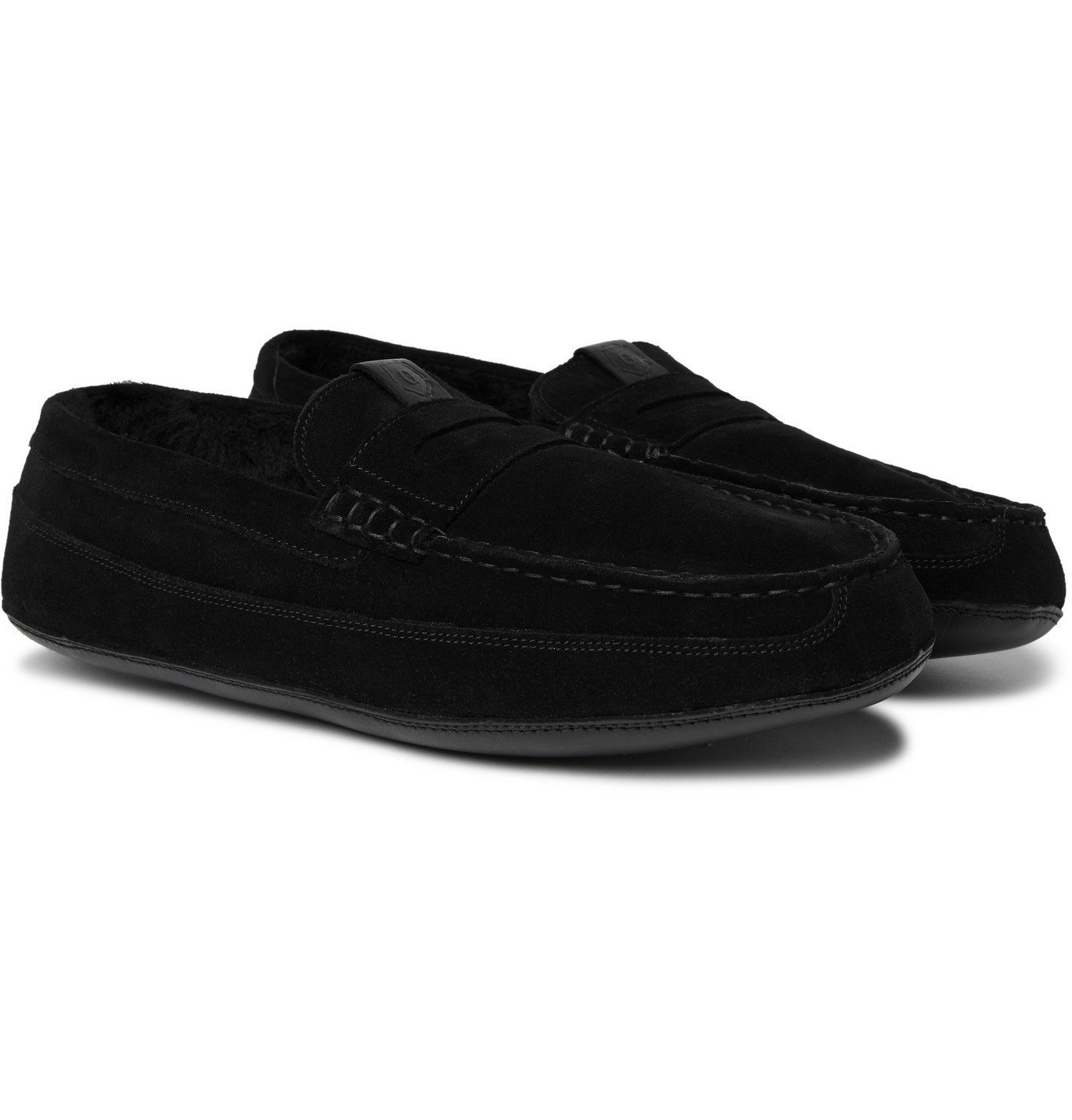 Photo: Grenson - Sly Shearling-Lined Suede Slippers - Black