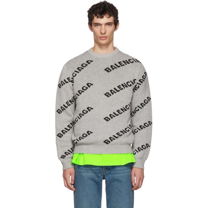 Photo: Balenciaga Grey and Black All Over Logo Crewneck Sweater