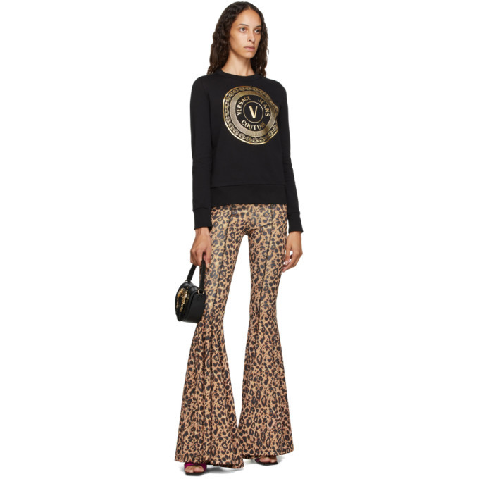 Versace Jeans Couture Brown Animalier Print Flared Trousers