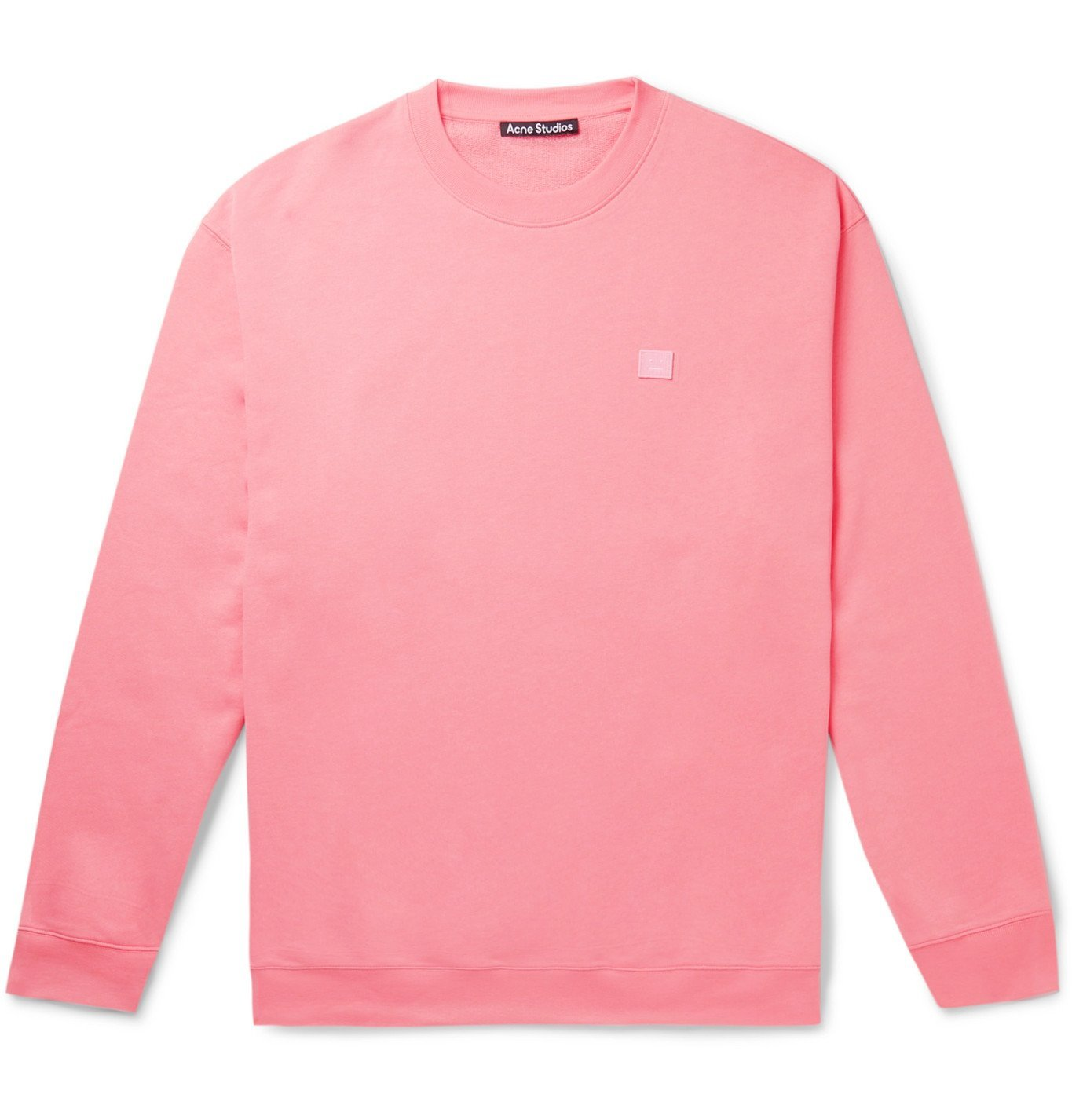 Photo: Acne Studios - Logo-Appliquéd Fleece-Back Cotton-Jersey Sweatshirt - Pink