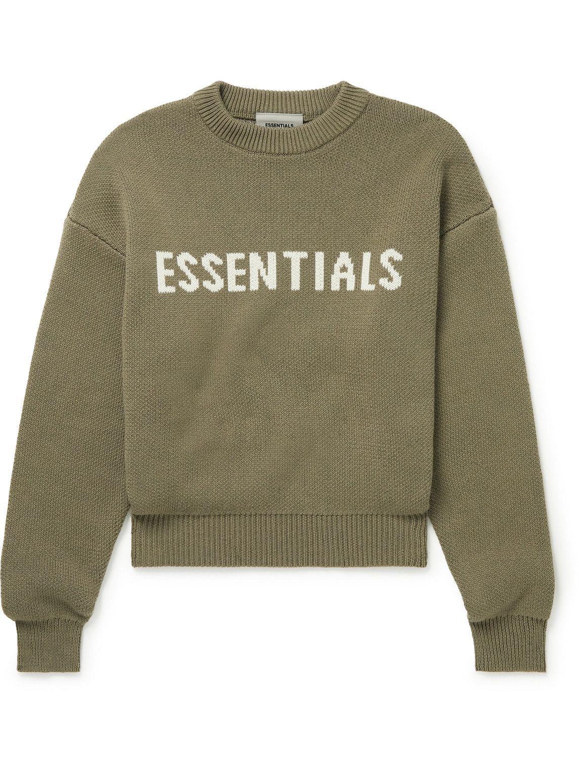 Photo: Fear of God Essentials Kids - Logo-Intarsia Cotton-Blend Sweater - Brown