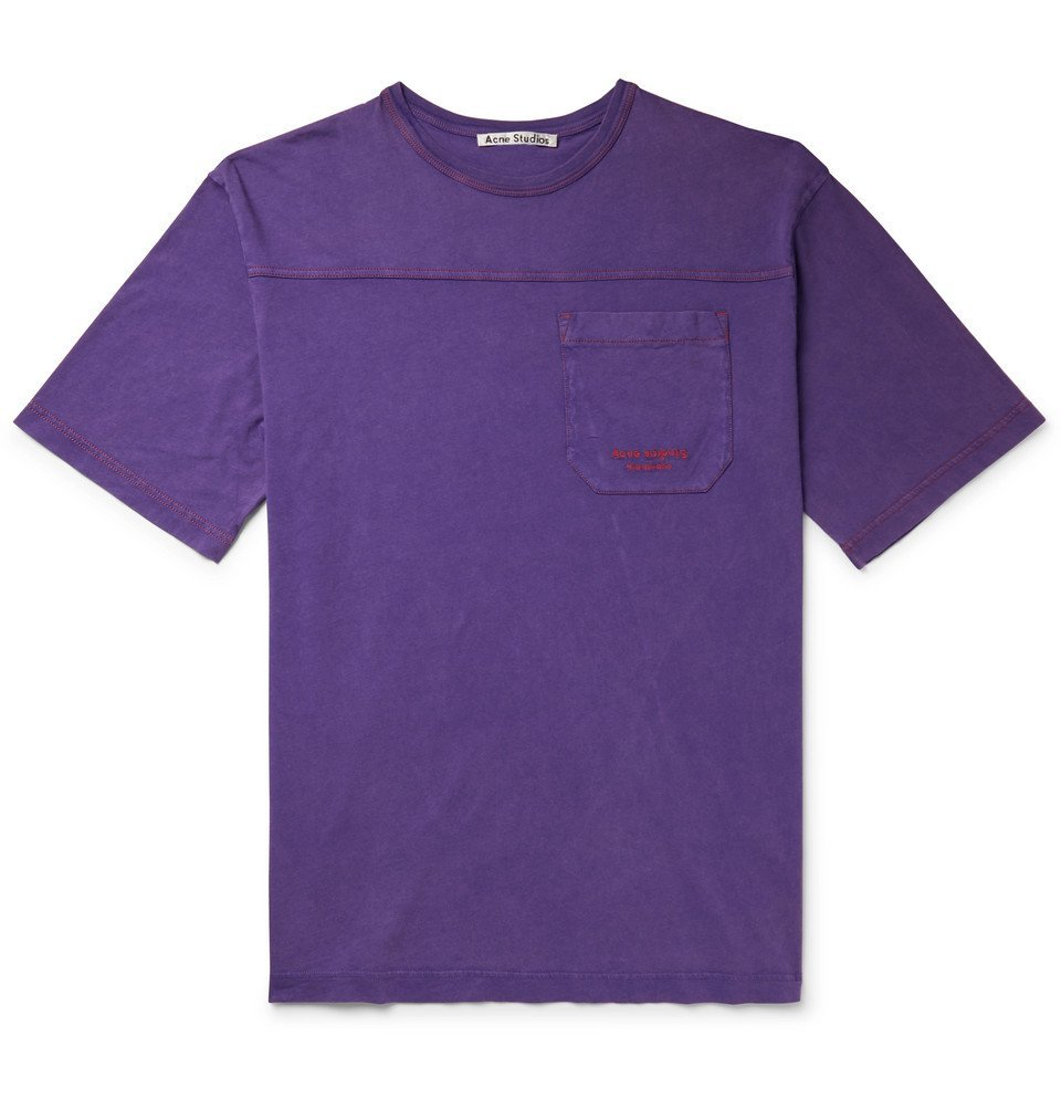 Photo: Acne Studios - Edwin Logo-Embroidered Acid-Washed Cotton-Jersey T-Shirt - Purple