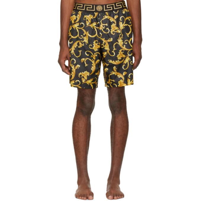 Photo: Versace Underwear Black and Yellow Brocade Swim Shorts