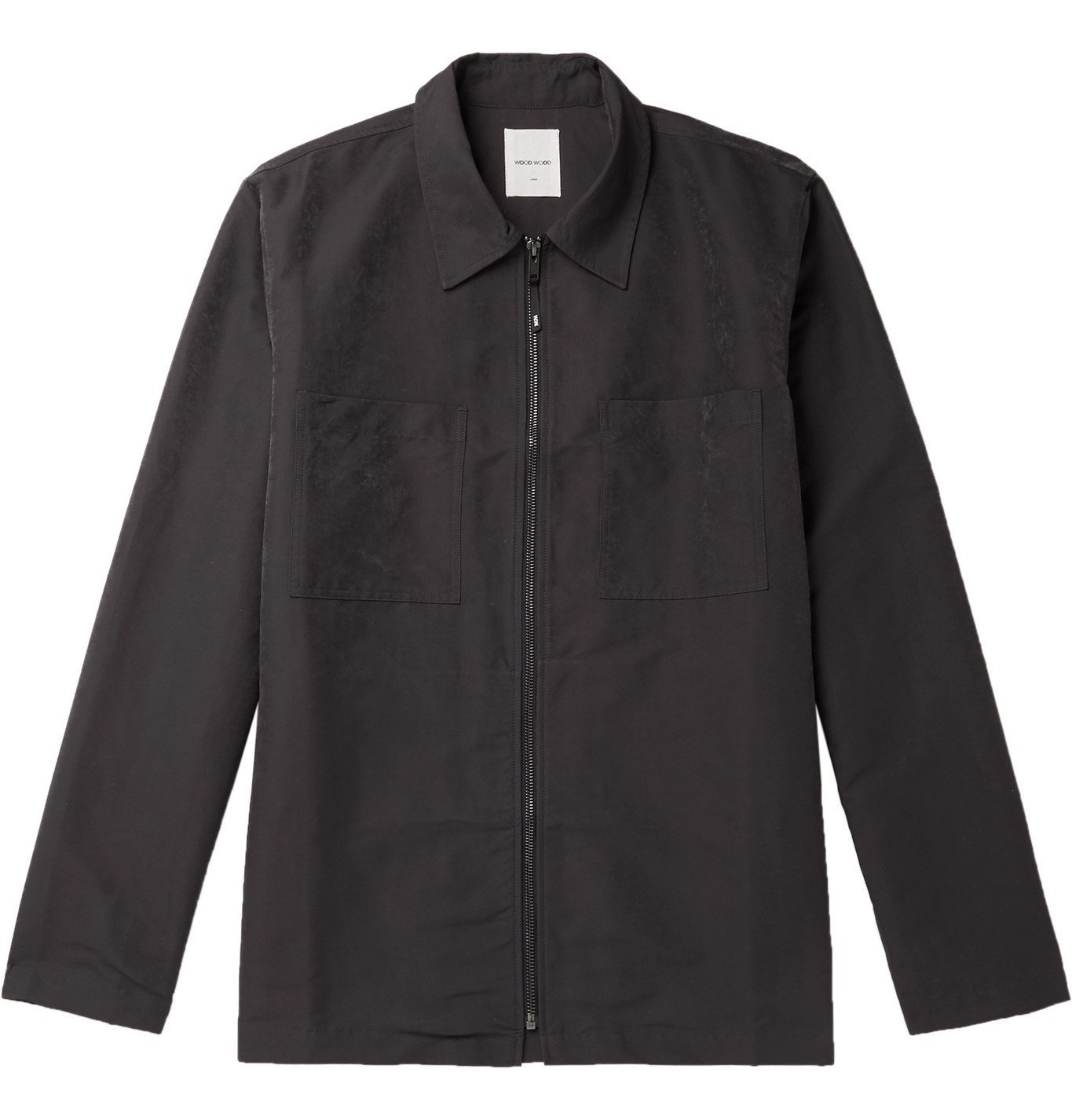Photo: Wood Wood - Shell Zip-Up Overshirt - Gray