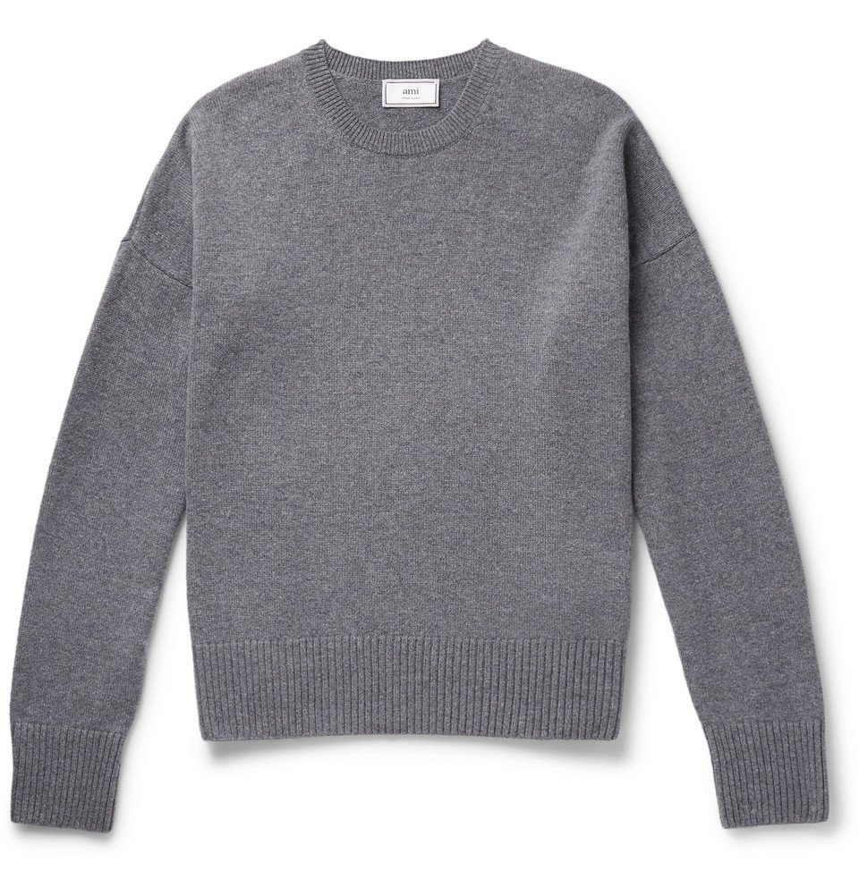 Photo: AMI - Oversized Mélange Merino Wool and Cashmere-Blend Sweater - Gray