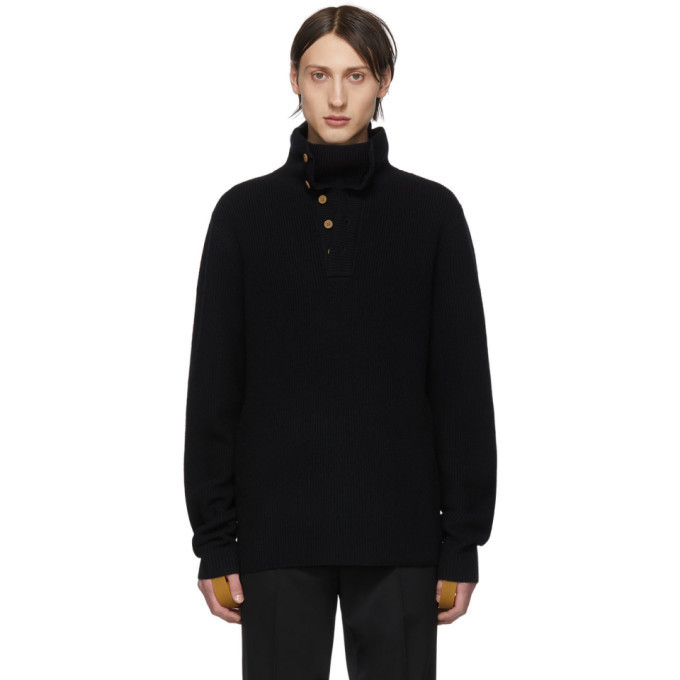 Photo: Helmut Lang Black Henley Roll Neck Sweater
