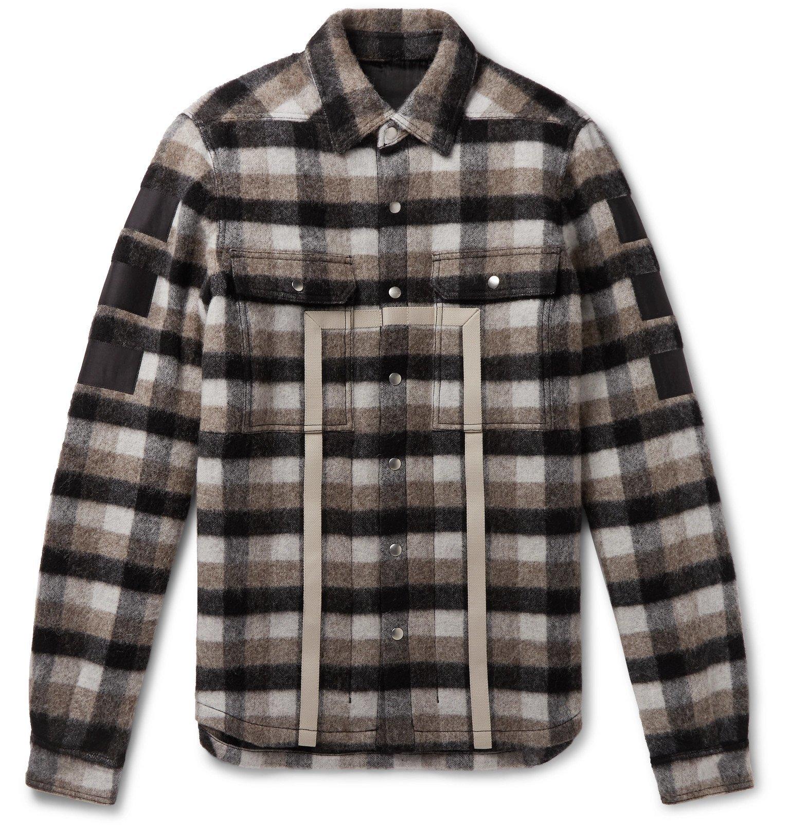 Photo: Rick Owens - Webbing-Trimmed Checked Virgin Wool Shirt Jacket - Multi