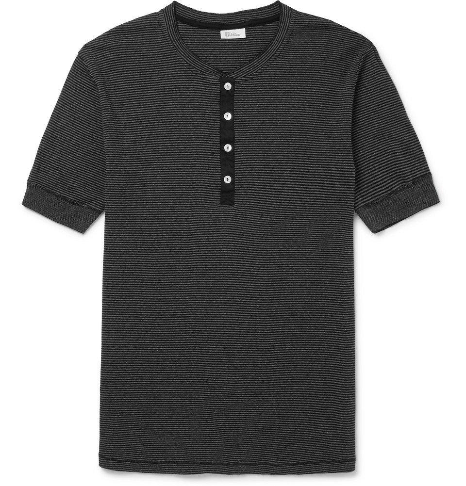 Schiesser - Karl Heinz Slim-Fit Striped Cotton-Jersey Henley T-Shirt - Men - Dark gray