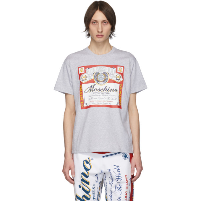 Photo: Moschino Grey Budweiser Edition Logo T-Shirt