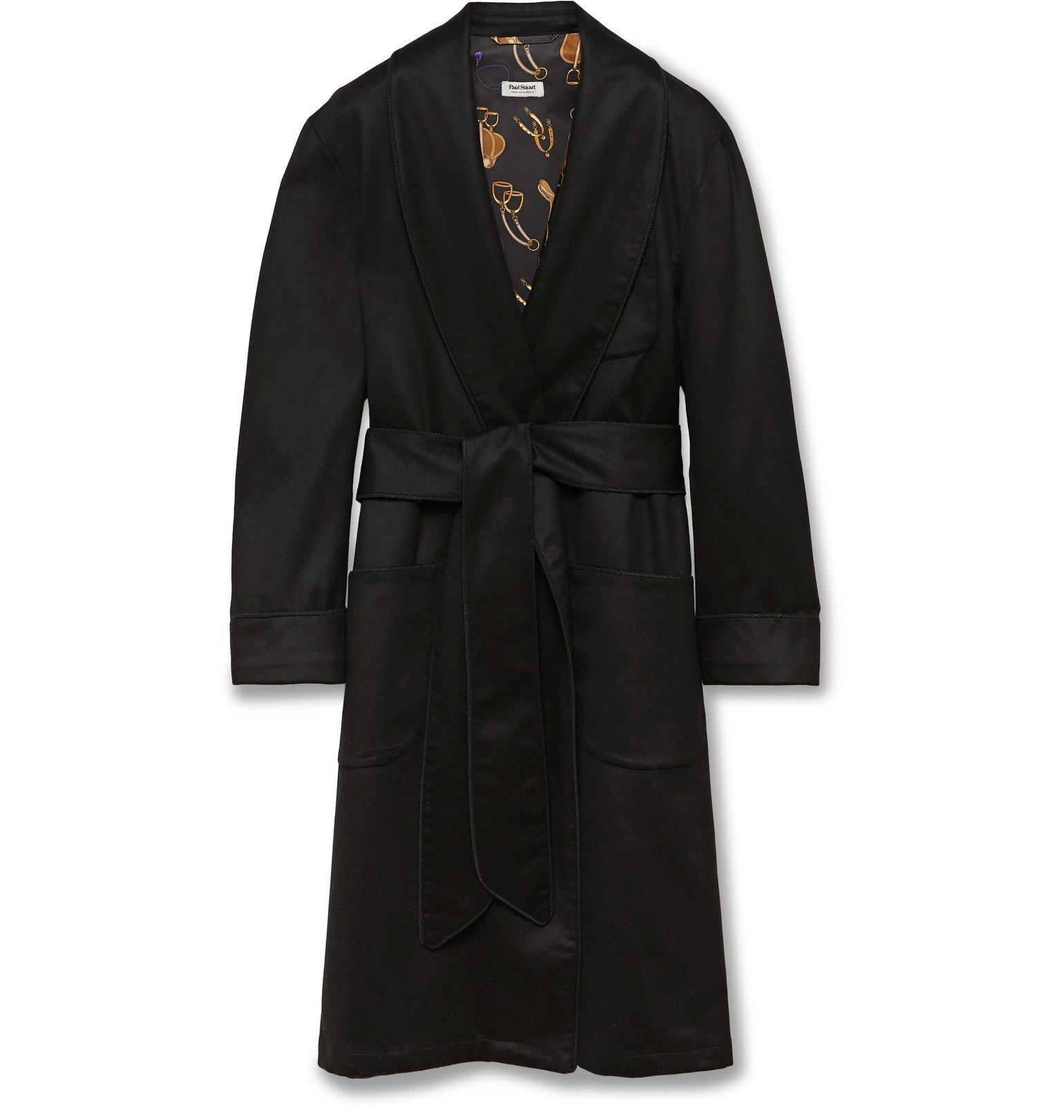 Photo: Paul Stuart - Piped Checked Silk Robe - Black