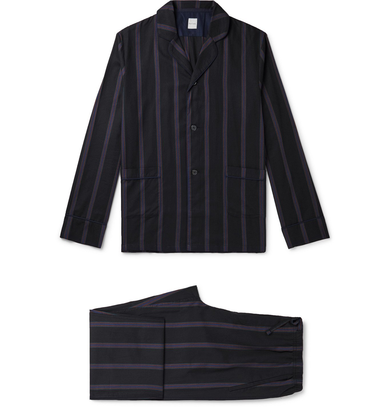 Photo: Paul Smith - Piped Striped Cotton Pyjama Set - Black