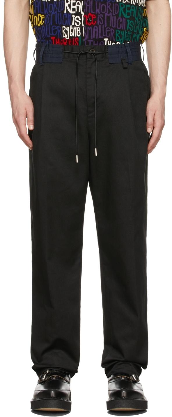 Photo: Sacai Black Chino & Grosgrain Trousers