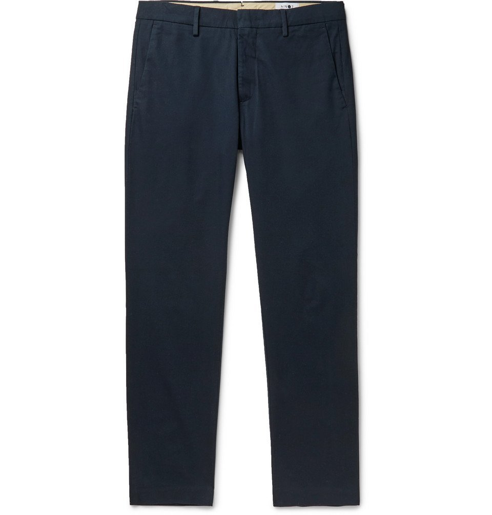 Photo: NN07 - Theo Tapered Cotton-Blend Chinos - Navy