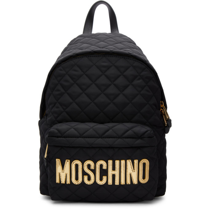 Photo: Moschino Quilted Logo Backpack
