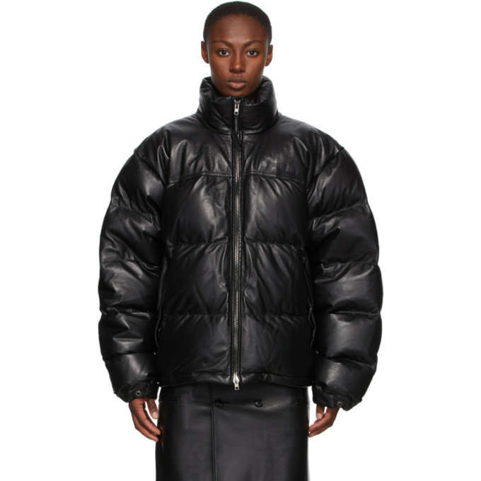 Photo: VETEMENTS Black Down Leather Puffed Jacket