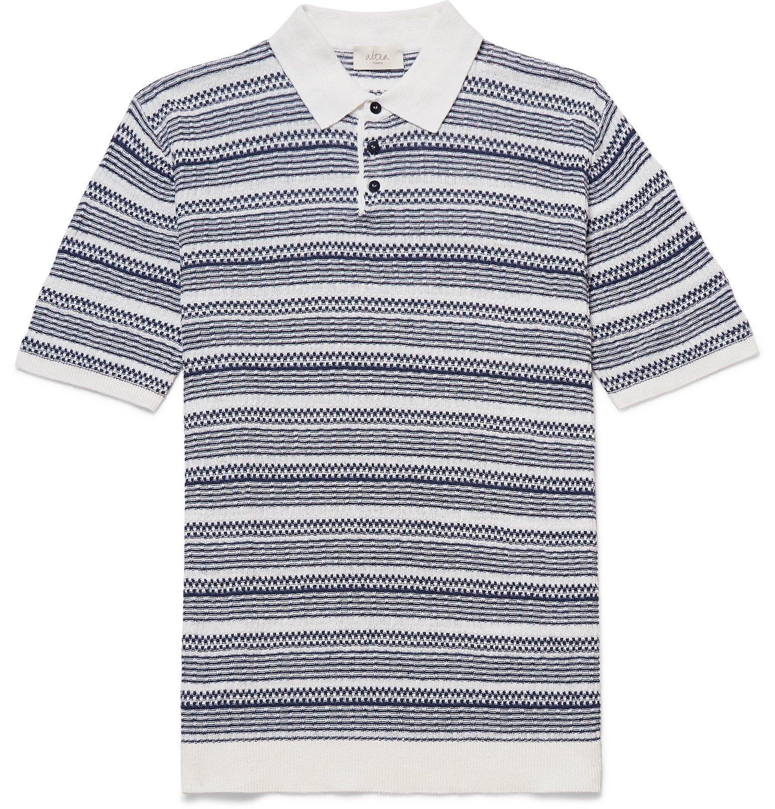 Photo: Altea - Striped Linen and Cotton-Blend Polo Shirt - Blue