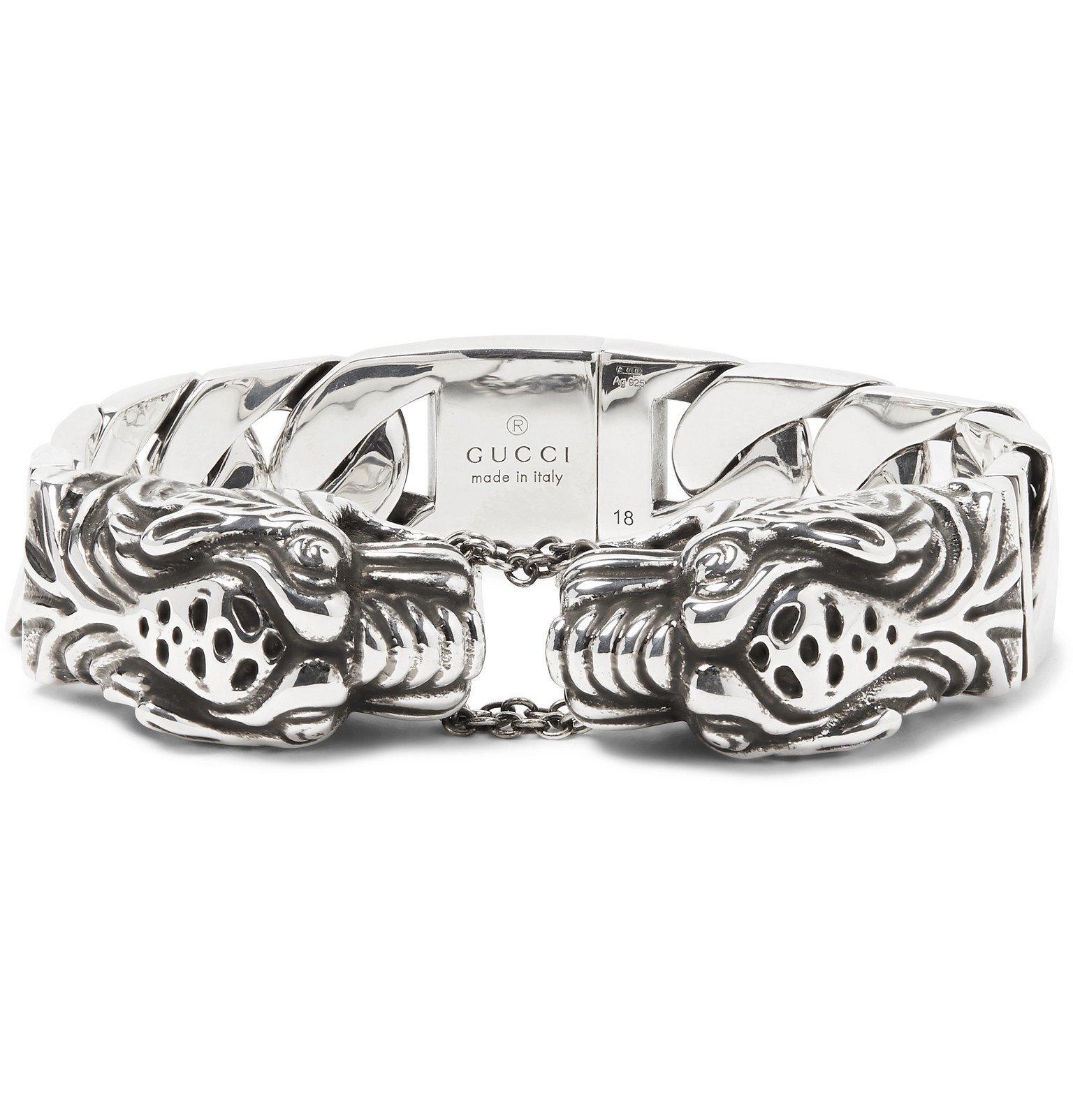 Photo: Gucci - Tiger Head Sterling Silver Bracelet - Silver