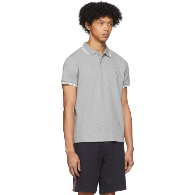 Moncler Grey Logo Patch Polo