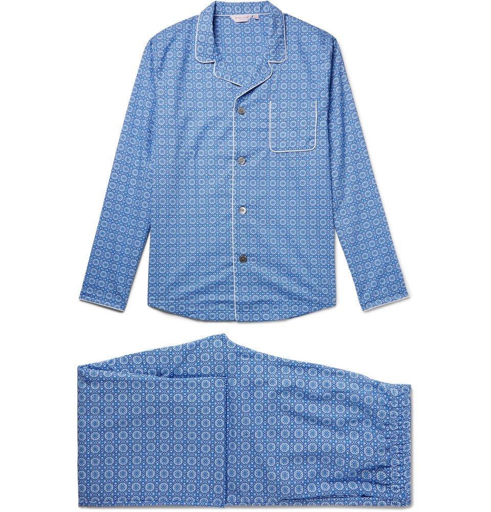 Photo: Derek Rose - Ledbury 5 Printed Cotton Pyjama Set - Blue