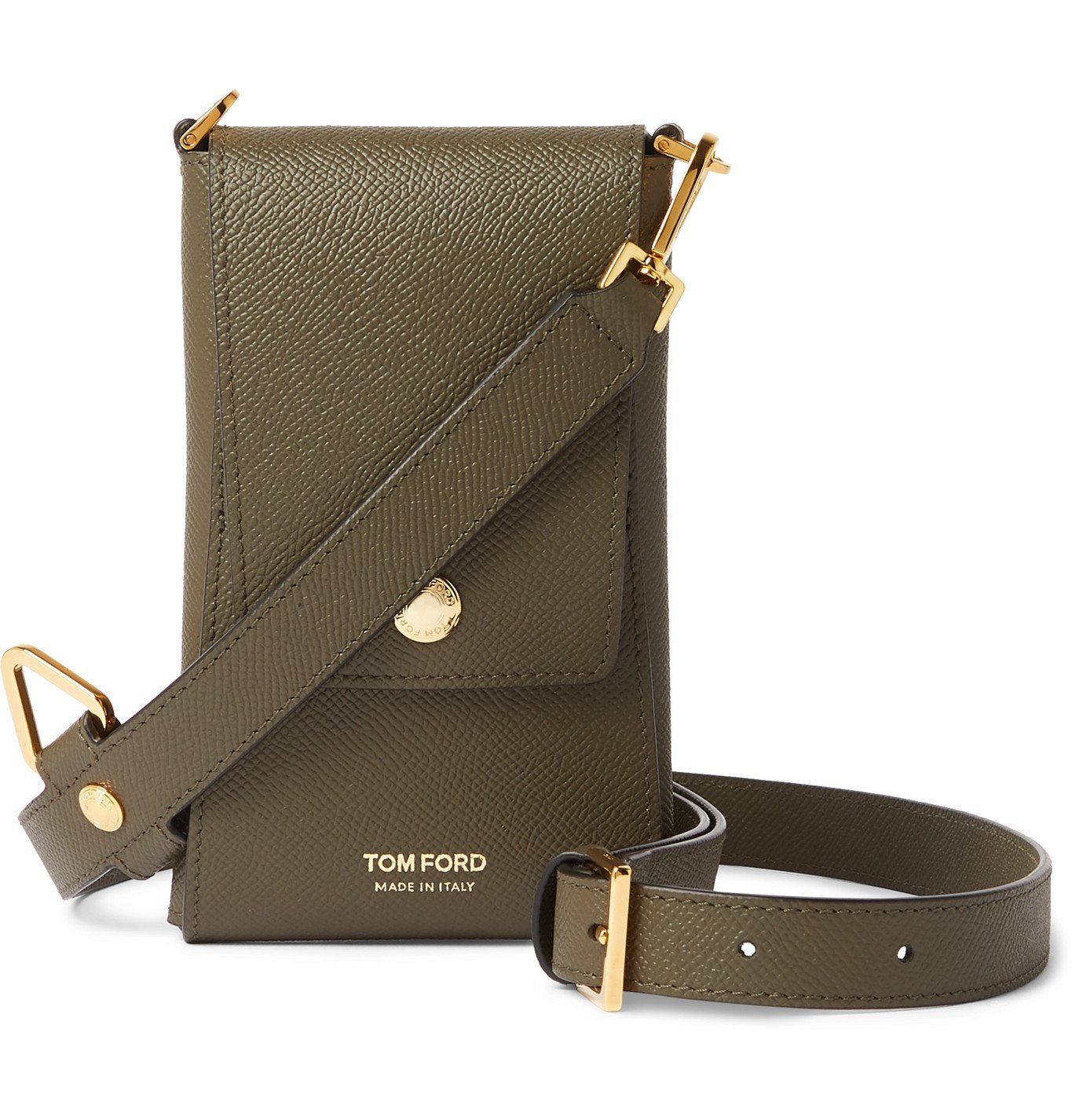 Photo: TOM FORD - Full-Grain Leather Phone Pouch - Green