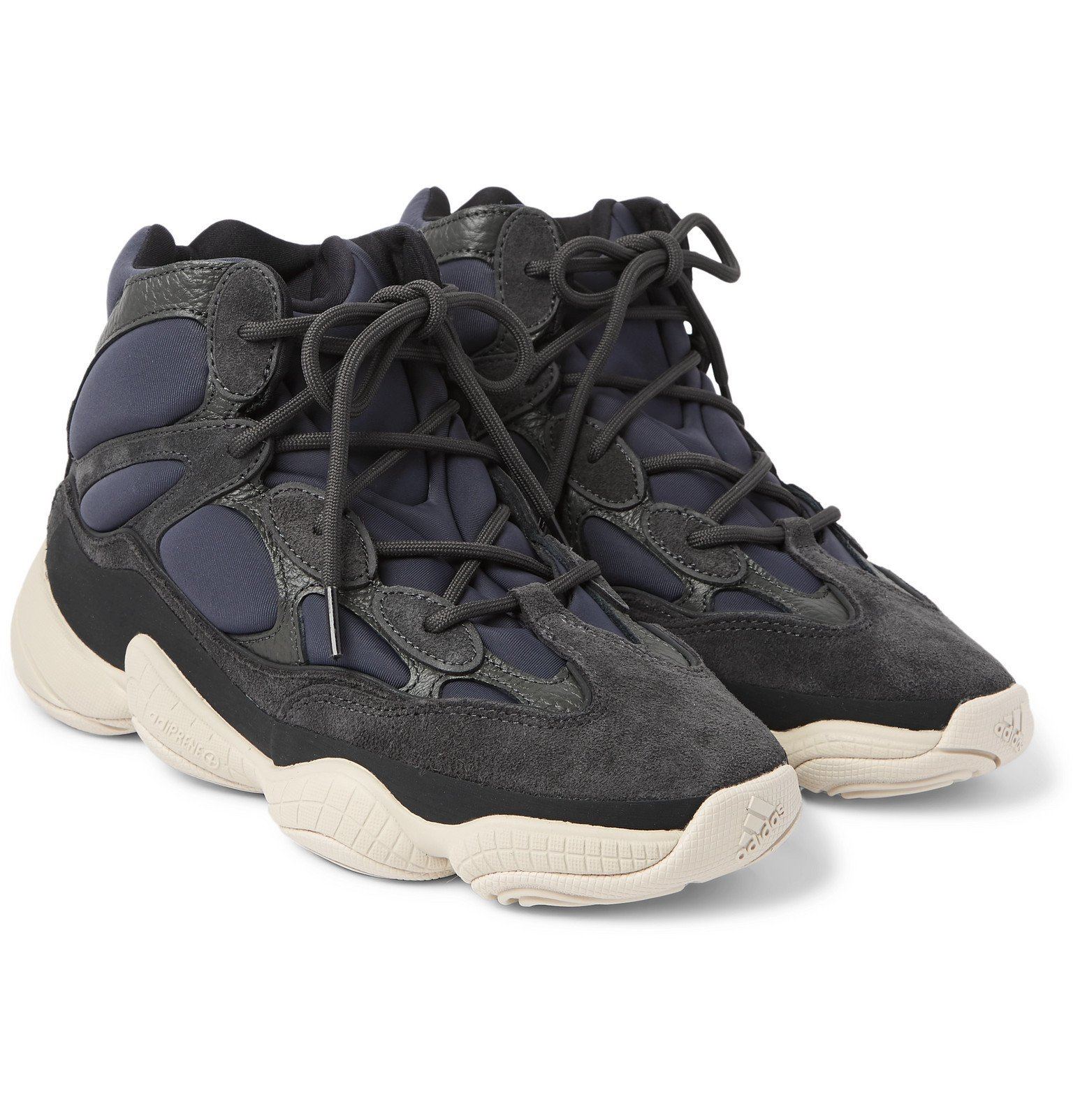 adidas Originals - Yeezy High 500 Neoprene, Suede and Leather High-Top Sneakers - Gray