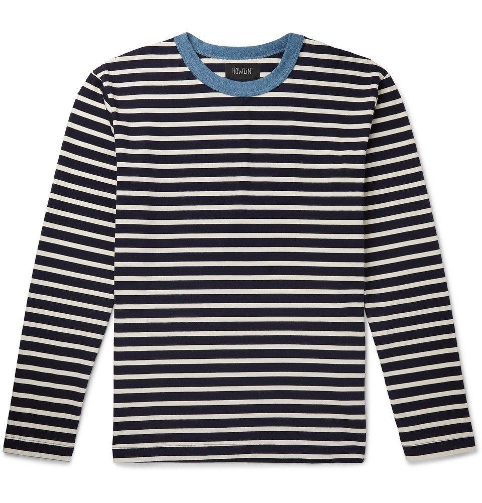 Photo: Howlin' - Contrast-Trimmed Striped Cotton-Jersey Sweatshirt - Navy