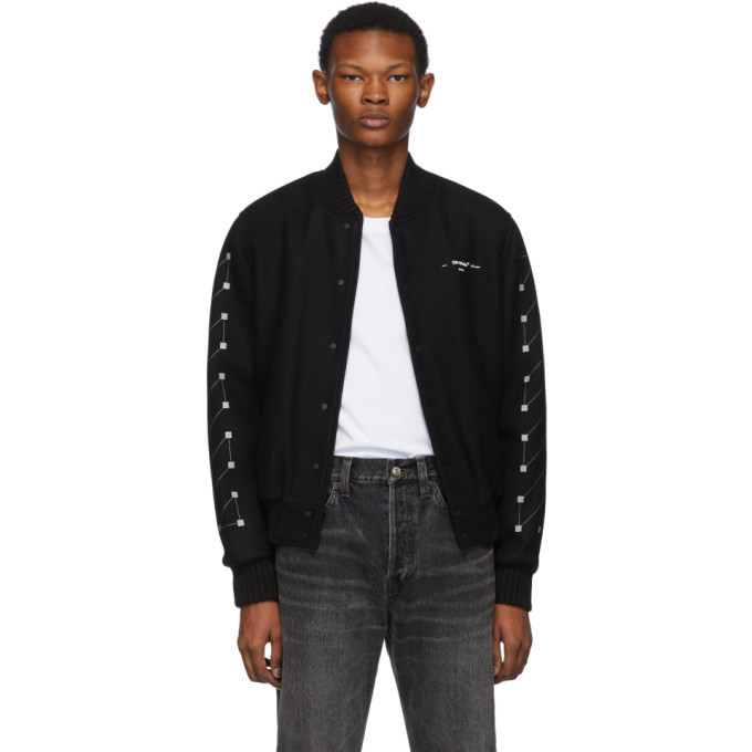 Photo: Off-White Black Embroidered Skinny Varsity Bomber Jacket