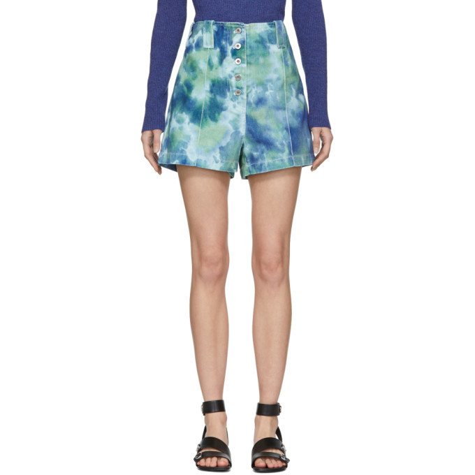 3.1 Phillip Lim Blue and Green Denim Tie-Dye Cargo Shorts