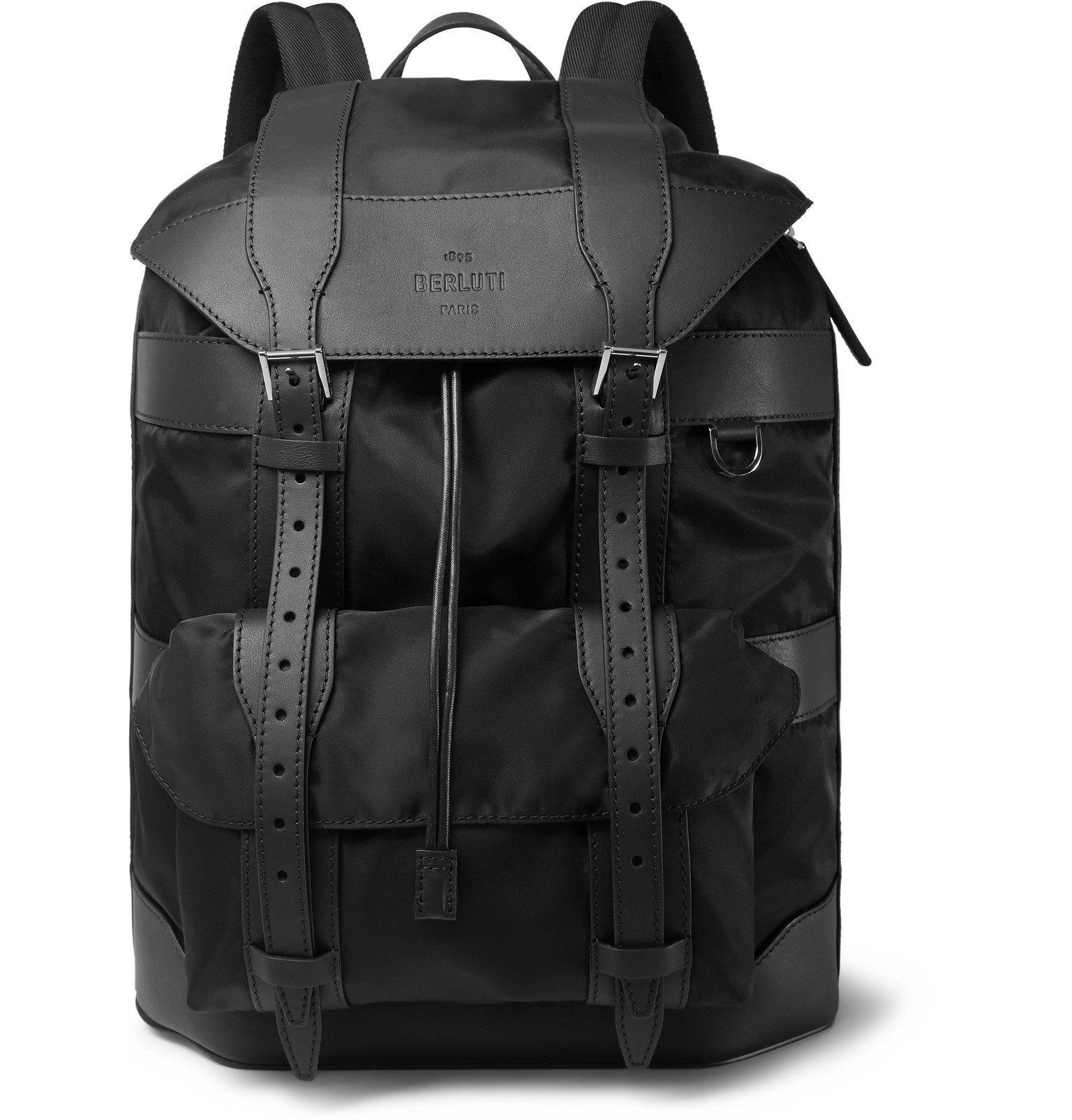 Photo: Berluti - Leather-Trimmed Nylon Backpack - Black