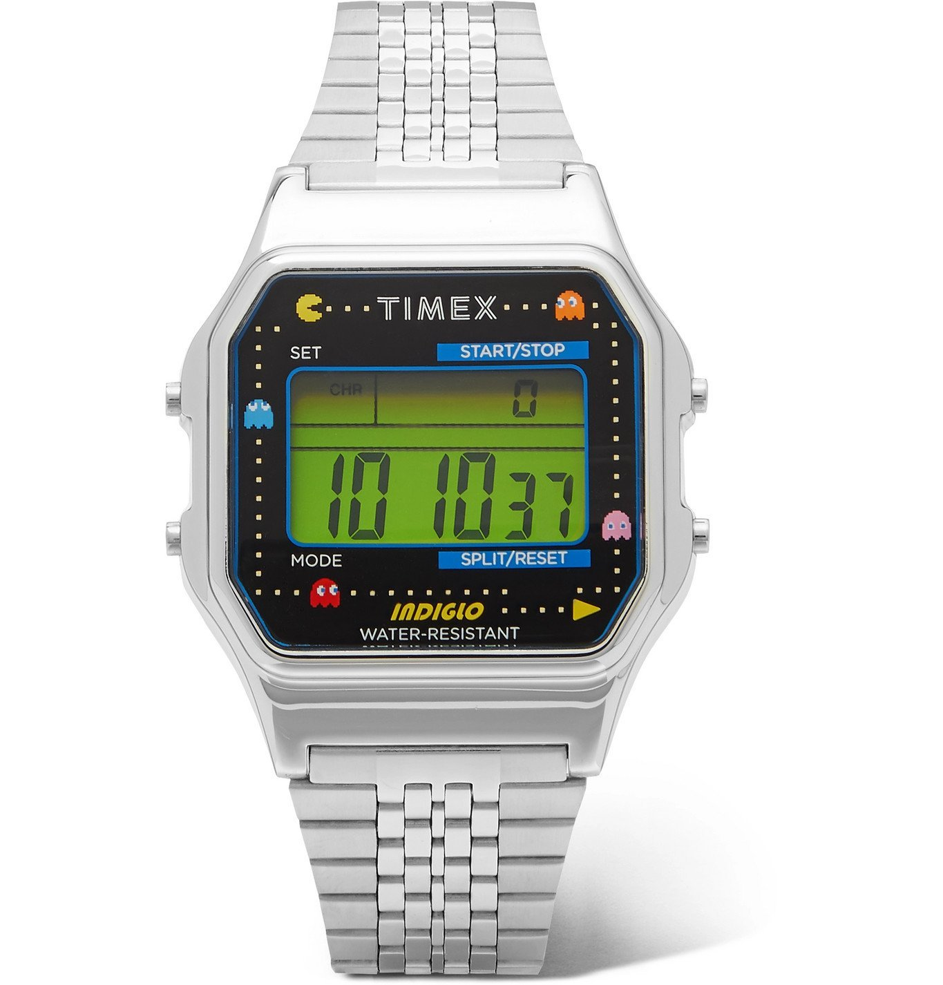 Photo: Timex - Pac-Man T80 34mm Stainless Steel Digital Watch - Silver