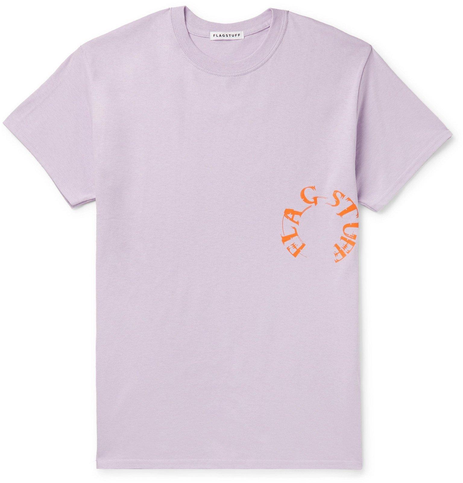 Photo: Flagstuff - Printed Cotton-Jersey T-Shirt - Purple