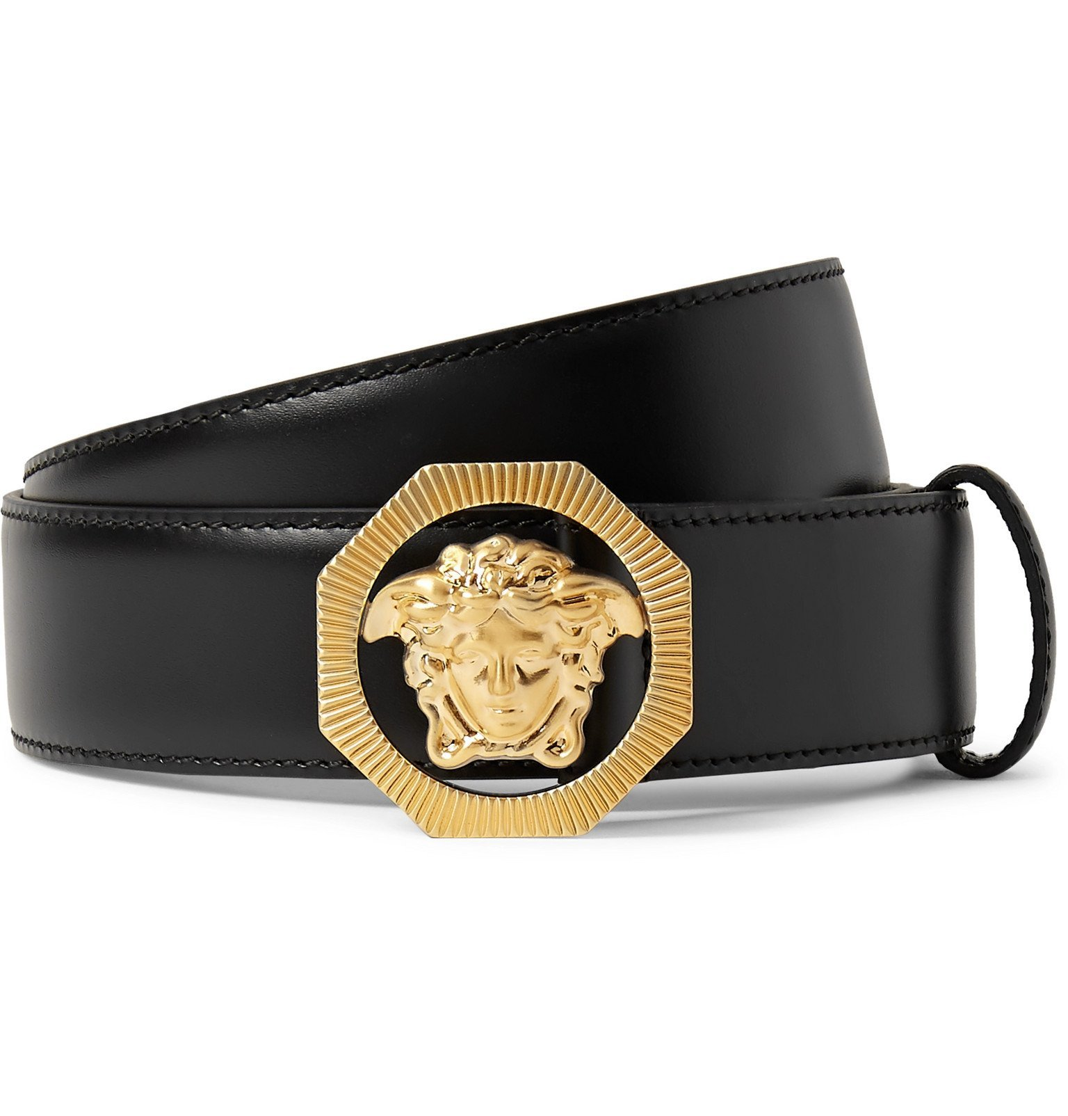 Versace - 3cm Black Leather Belt - Black