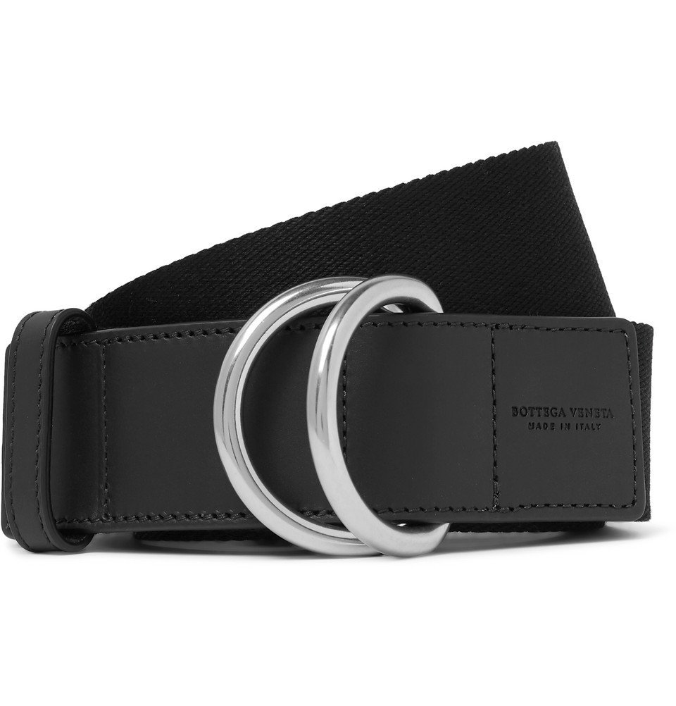 Photo: Bottega Veneta - 4cm Black Canvas and Leather Belt - Black