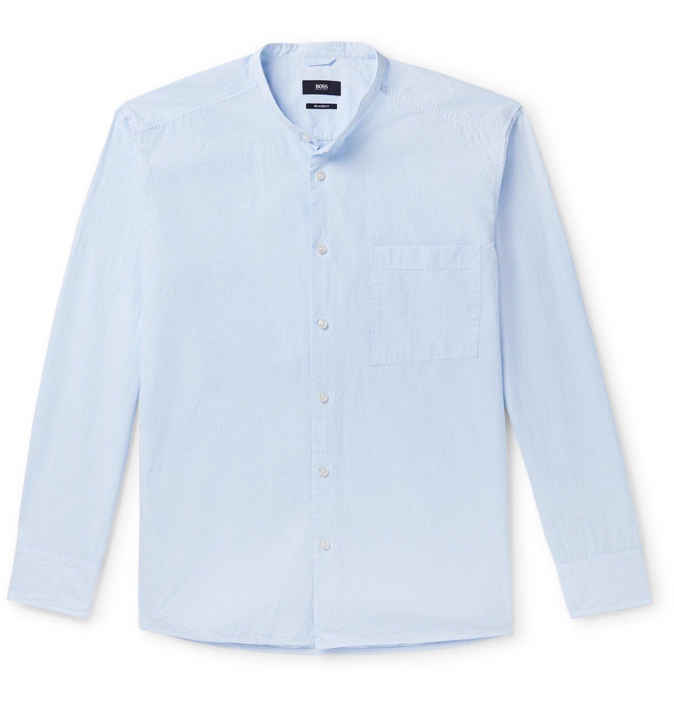 Photo: Hugo Boss - Frans Grandad-Collar Striped Cotton-Seersucker Shirt - Blue