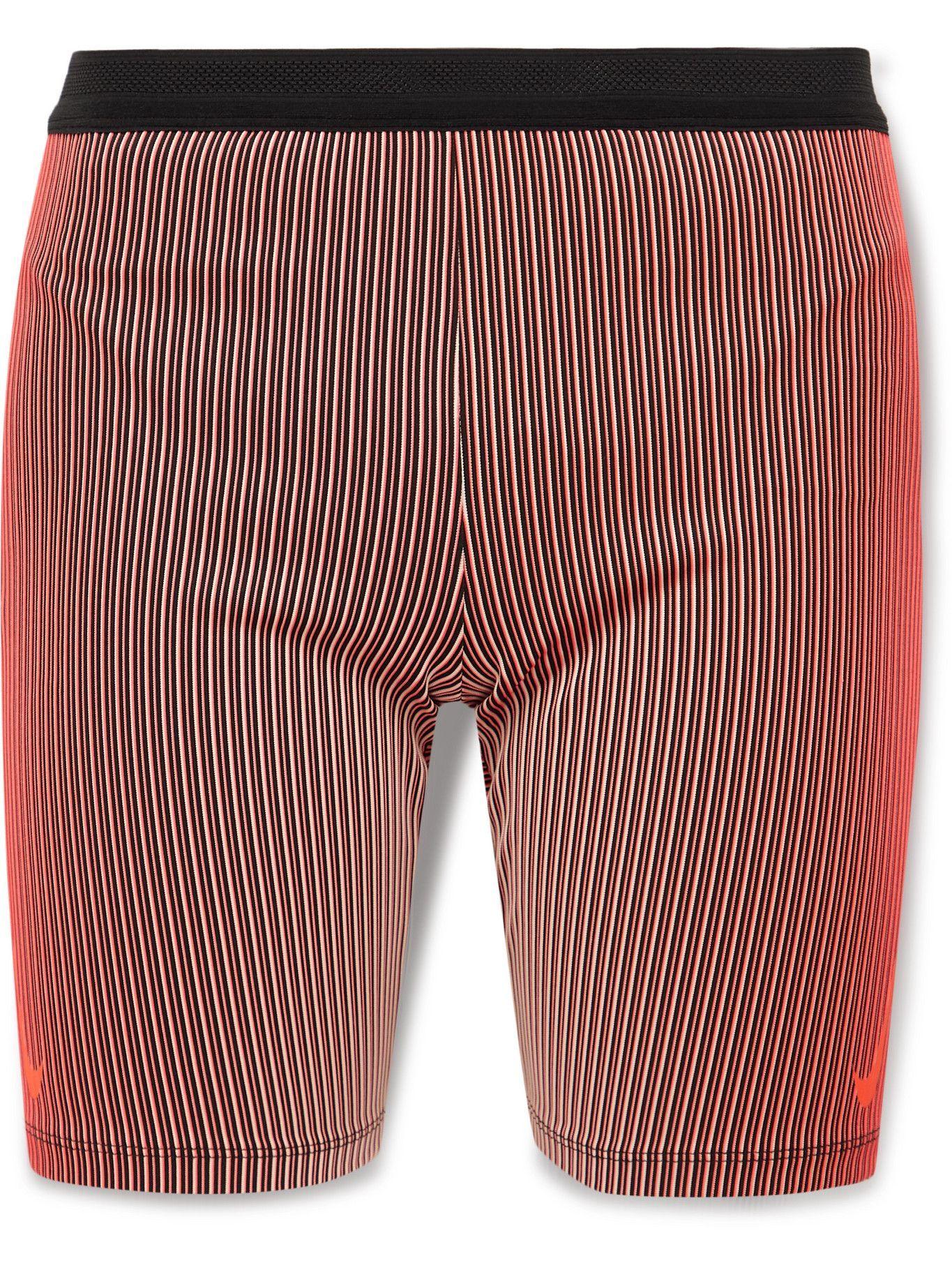 Photo: Nike Running - AeroSwift Ribbed Striped Stretch-Jersey Shorts - Pink